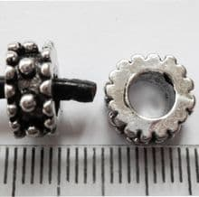 Dotted Tibetan Silver bead with large 4.7mm hole. 11mm x 4.5mm