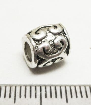 European style barrel bead 9mm x 9mm with 3.7mm hole