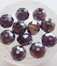 Faceted beads 8mm x 6mm. Amethyst x 10