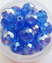 Faceted Beads 8mm x 6mm. Blue x 10