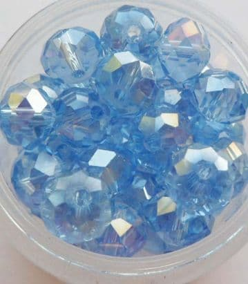 Faceted Beads 8mm x 6mm. Cornflower x 10