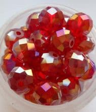 Faceted Beads 8mm x 6mm. Red x 10