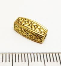 Floral pillar spacer bead x 5.  12mm. Gold