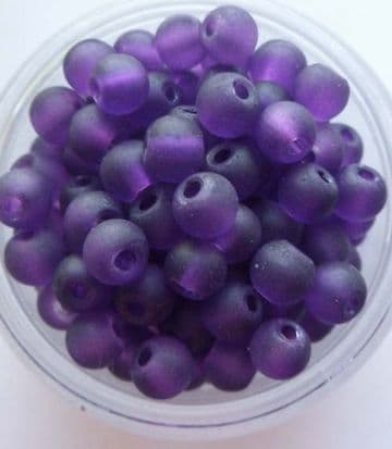 Frosted Glass 4mm Beads. Deep Purple x 50.