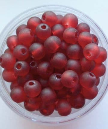 Frosted Glass 4mm Beads. Deep Red x 50