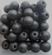 Frosted Glass Beads 6mm. Black x 20