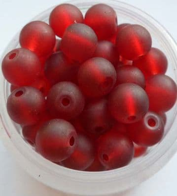 Frosted Glass Beads 6mm. Deep Red x 20