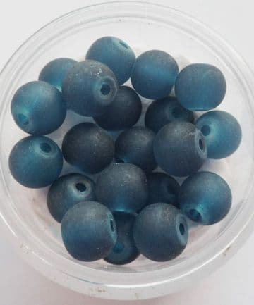 Frosted Glass Beads 6mm. Petrol Blue x 20