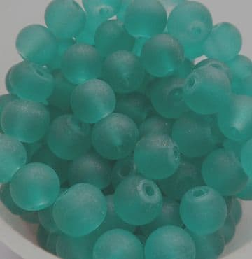 Frosted Glass Beads 6mm. Teal Green x 20
