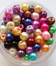 Glass Pearl Beads mixed 4mm x 100