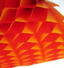 Honeycomb Paper x 1. 17cm x 25cm. Red/Yellow Duo Colours