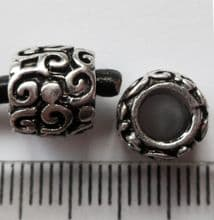 Large hole carved Silver bead. 9x8mm with 4.5mm hole