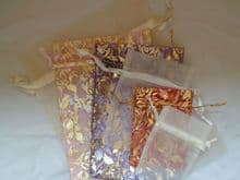 Pack of 6 Organza Bags. (Pack 1). Various sizes & colours.