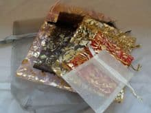 Pack of 6 Organza Bags. (Pack 2). Various sizes & colours.