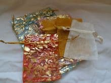 Pack of 6 Organza Bags. (Pack 4). Various sizes & colours