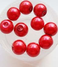Pearl Glass 8mm bead. Red x 10
