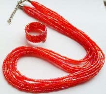 Seed beads Necklace, ring & beads - red.