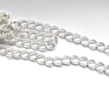 Silver Plated Double Link chain. 2m length.