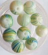Stripey Green Glass beads. 8mm x 10.