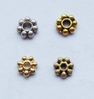 Tibetan Style daisy spacer. 100 x 4mm.Pick a colour.