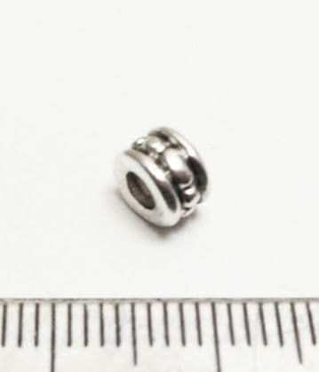 Tibetan Style Silver Dotted Barrel tube spacer bead x 50. 4.5mm x 6mm