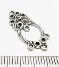Tibetan Style Silver floral dropper/earrings/pendant x 20. 25mm. Normally £3.50
