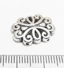 Tibetan Style Silver Oval 2 hole spacers x 8. 13.5mm x 18mm x 3mm.