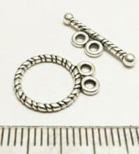 Tibetan Style Silver Two strand Toggle/bar x10. 12m.