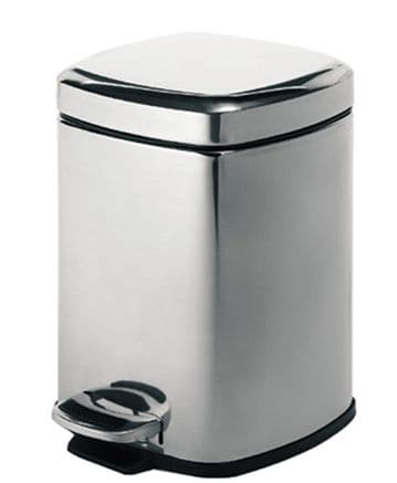 Gedy Square Pedal Bin 5 Litre Polished 2309-13