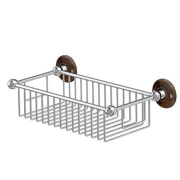 Burlington Deep Rectangle Basket Chrome with Walnut Backplate A23 WAL