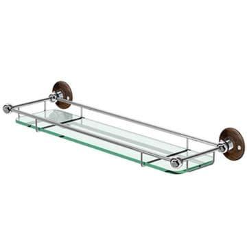 Burlington Shelf with Railing 550mm Chrome with Walnut Backplate A18 WAL