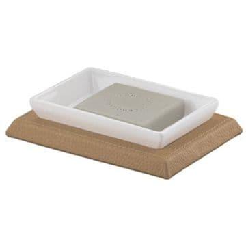 Gedy Kyoto Leather Soap Dish White/Hazelnut 1511-36
