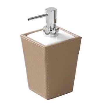 Gedy Kyoto Leather Soap Dispenser White/Hazelnut/Chrome 1581-36