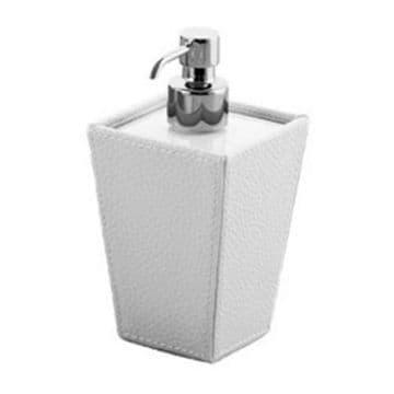 Gedy Kyoto Leather Soap Dispenser White/White/Chrome 1581-02