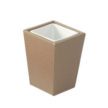 Gedy Kyoto Leather Tumbler White/Hazelnut 1510-36