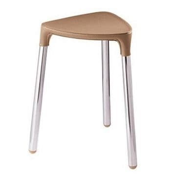 Gedy Yannis Stool Hazelnut Faux/Chrome 2172-E3
