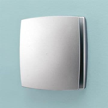 HiB Breeze Slimline Low Profile Matt Silver Discreet Fan with Timer & Humidity Sensor - 31400