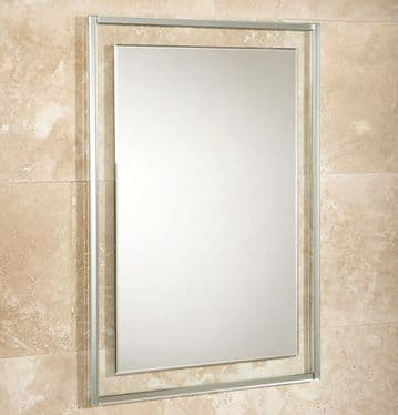 HiB Georgia Bevelled Edge Mirror On Clear Glass Frame 70x50 76060500