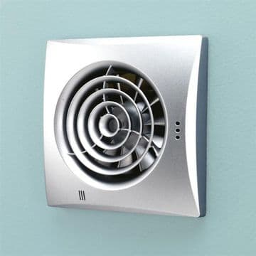 HiB Hush Ultra quiet Low Profile Matt Silver Plain Fan Fitted with Timer & Humidity Sensor - 31800