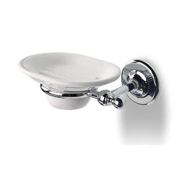 IBB British Wall Mounted Soap Dish Ceramic Satin Silver BI01ARS/ARS