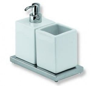 IBB Xoni Freestanding Glass Soap Dispenser Tumbler Holder Matt White And White Resin XO16DBIO/BIO