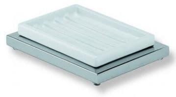 IBB Xoni Freestanding Soap Dish Chrome And White Resin XO21CRO/CRO