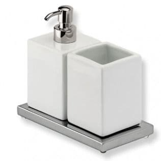 IBB Xoni Glass Holder And Soap Dispenser Chrome And White Resin XO24DCRO/CRO