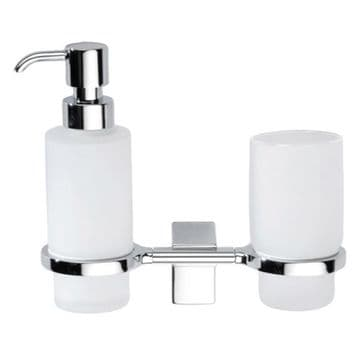 Sonia Eletech Frosted Glass Soap Dispenser & Tumbler Holder Chrome 114047