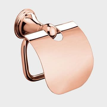 Sonia Genoa Toilet Roll Holder With Flap Rose Gold 176199