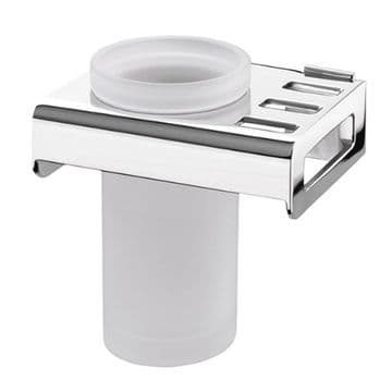 Sonia Nakar Frosted Glass Brush Tumbler Holder Chrome 119042