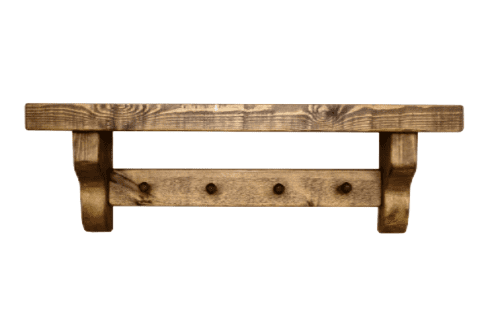 Rustic shelf with coat pegs.