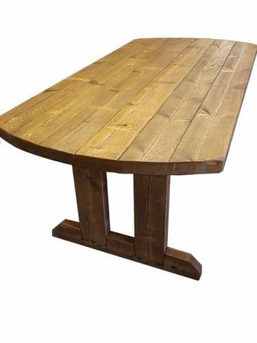 5X3 rustic wooden farmhouse dining table with matching benches.
