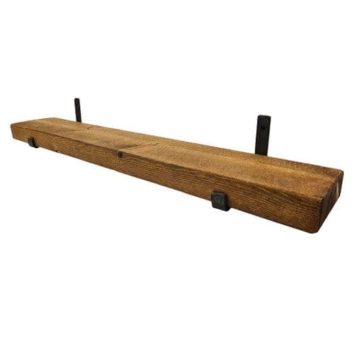 Tortuga Rustic Solid Wooden Shelf With Hand Forged Industrial Metal Hook Under Support Brackets