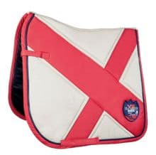 HKM PRO TEAM COUNTY  SADDLE PAD - BEIGE / RED  - RRP £36.99